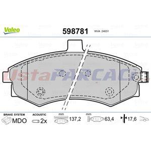 Hyundai Elantra Sedan 2.0 Crdi 2000-2006 Valeo Ön Fren Balatası UP1408019 VALEO