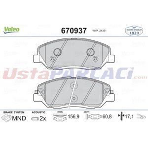 Hyundai Santa FÉ 2.0 Crdi 2012-2015 Valeo Ön Fren Balatası UP1447919 VALEO