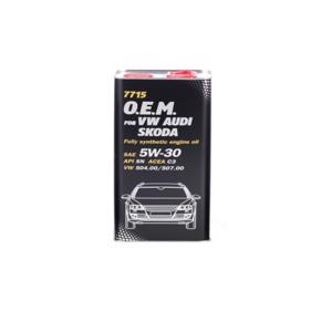 Oem Vw - Audi - Skoda 5w30 Motor Yağı 5 Lt OEM VW - AUDI - SKODA 5W30 D MANNOL