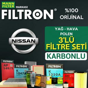 Nissan Qashqai 1.6 Dci Filtron Karbonlu Filtre Bakım Seti 2014-2017 UP561018 FILTRON