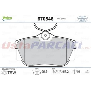 Opel Vivaro A 2.0 Cdti 2001-2020 Valeo Arka Fren Balatası UP1465798 VALEO