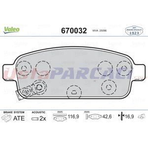 Opel Zafira Tourer 1.4 2011-2020 Valeo Arka Fren Balatası UP1445178 VALEO