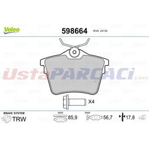 Peugeot 407 Sw 2.2 Hdi 170 2004-2010 Valeo Arka Fren Balatası UP1516489 VALEO