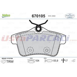 Peugeot 5008 1.6 Thp 165 2009-2017 Valeo Arka Fren Balatası UP1449217 VALEO