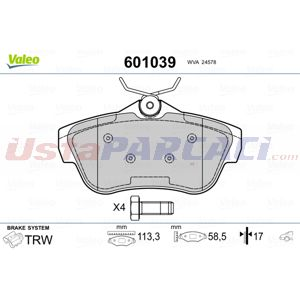 Peugeot Expert Tepee 2.0 Hdi 120 4x4 2007-2020 Valeo Arka Fren Balatası UP1445312 VALEO