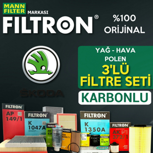 Skoda Rapid 1.6 Tdi Dizel Mann Filtron Filtre Bakım Set 2013-2015 UP1539502 FILTRON