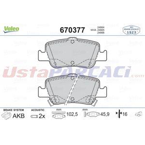 Toyota Corolla Sedan 1.3 2013-2020 Valeo Arka Fren Balatası UP1498859 VALEO