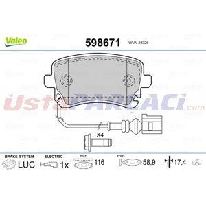 Vw Multivan V 3.2 V6 4motion 2003-2015 Valeo Arka Fren Balatası UP1469025 VALEO