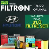 Hyundai Accent Blue 1.4 Cvvt Filtron Filtre Bakım Seti 2011-2016 UP1319468 FILTRON