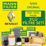 Renault Clio 3 1.5 Dcı Mann-filter Filtre Bakım Seti (2005-2012) UP463816 MANN