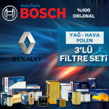 Renault Clio 4 1.2 Bosch Filtre Bakım Seti 2012-2016 UP582567 BOSCH