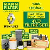 Renault Clio 4 1.5 Dci Mann-filter Filtre Bakım Seti 2012-2016 UP1319431 MANN