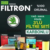 Skoda Fabia 1.2 Benzinli Mann Filtron Filtre Bakım Seti 2007-2014 UP1539543 FILTRON
