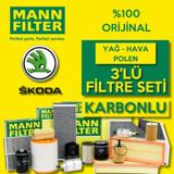 Skoda Superb 1.6 2.0 Tdi Dizel Mann Filtre Bakım Seti 2015-2019 UP1539473 MANN