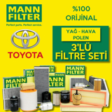 Toyota Auris 1.33 Mann-filter Filtre Bakım Seti (2009-2018) UP1156132 MANN
