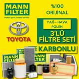 Toyota Corolla 1.6 Mann-filter Karbonlu Filtre Bakım Seti 2009-2018 UP1128632 MANN
