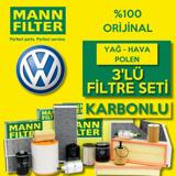 Vw Scirocco 1.4 Tsi Benzinli Mann Filtre Bakım Seti 2009-2015 UP1539488 MANN